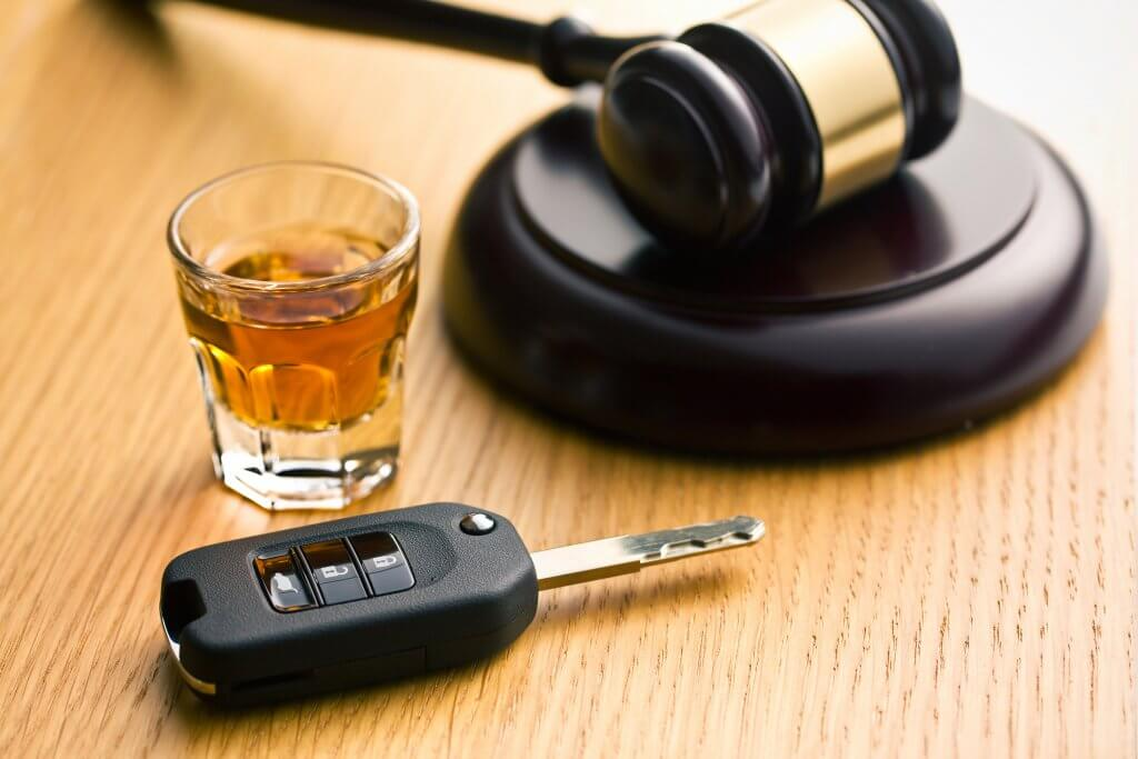 drunk drivers keys next to a gavel